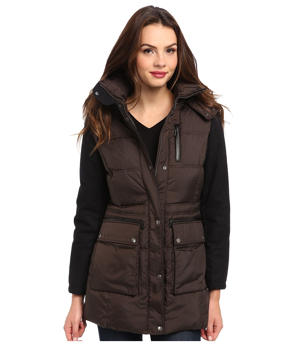 Cole Haan - Essential Down Parka w/ Wool Sleeves (Java) Women