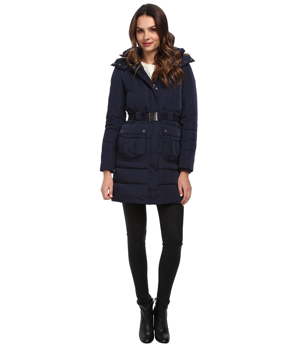 Cole Haan - Belted Down Anorak w/ Faux Fur Trim (India Ink) Women