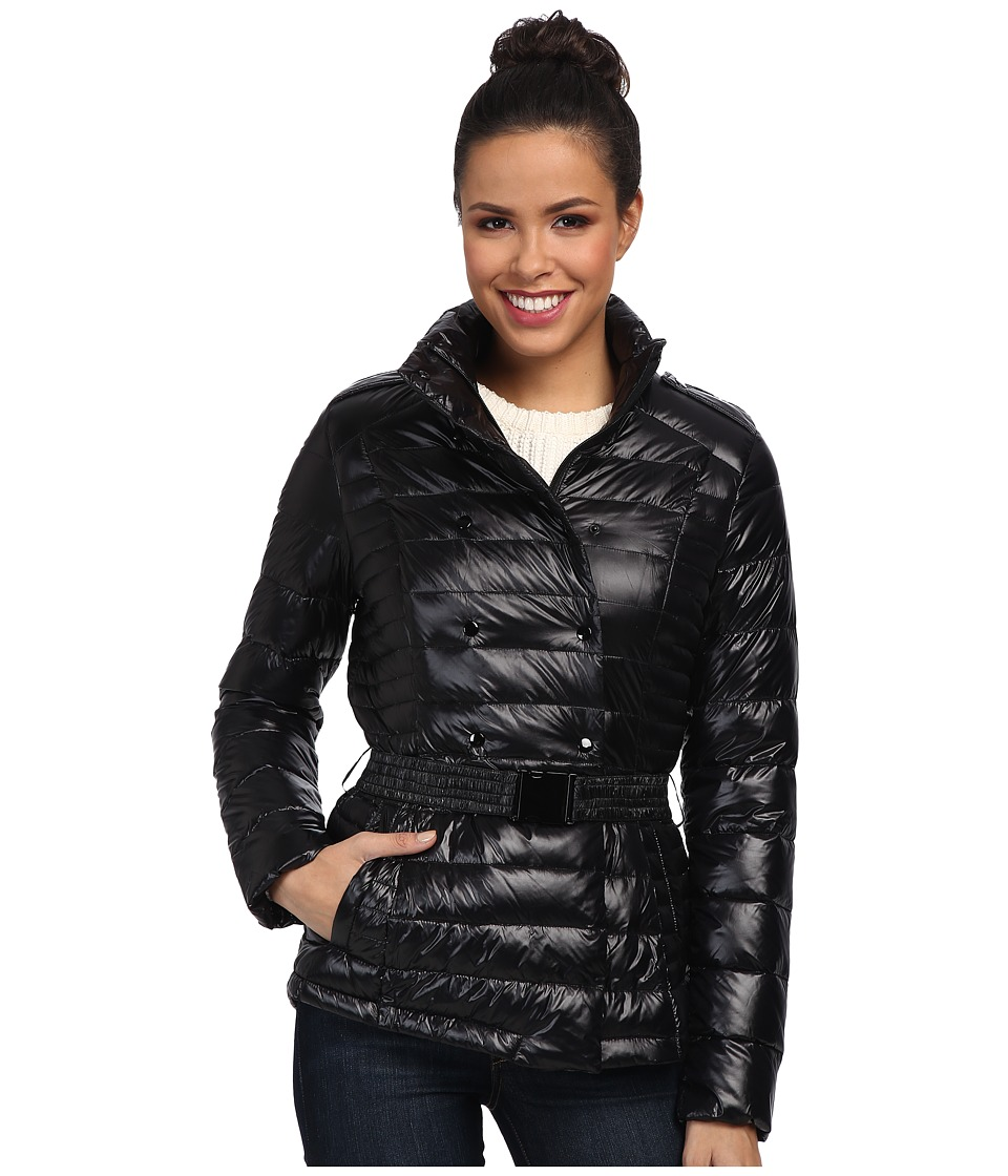 Cole Haan - Short Packable Down Double Breasted Belted (Black) Women's Coat