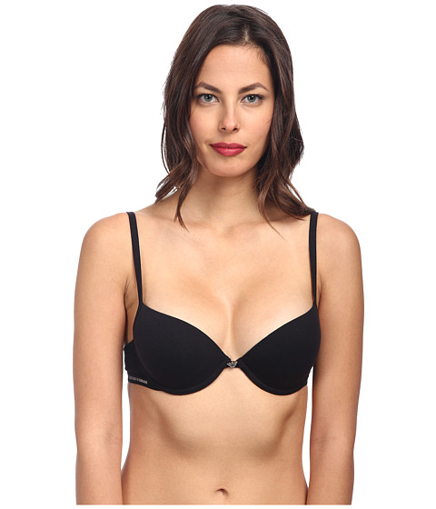 Emporio Armani - Cotton Delight Stretch Cotton With New Logo Custom Fit Push-Up Bra (Black) Women's Bra