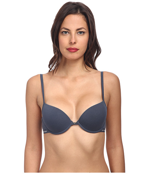 Emporio Armani - Cotton Delight Stretch Cotton With New Logo Custom Fit Push-Up Bra (Slate) Women's Bra