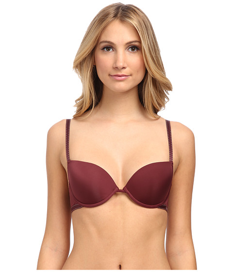 Emporio Armani - Minimal Perfection Light Solid Microfiber Push -Up Bra (Dark Burgundy) Women