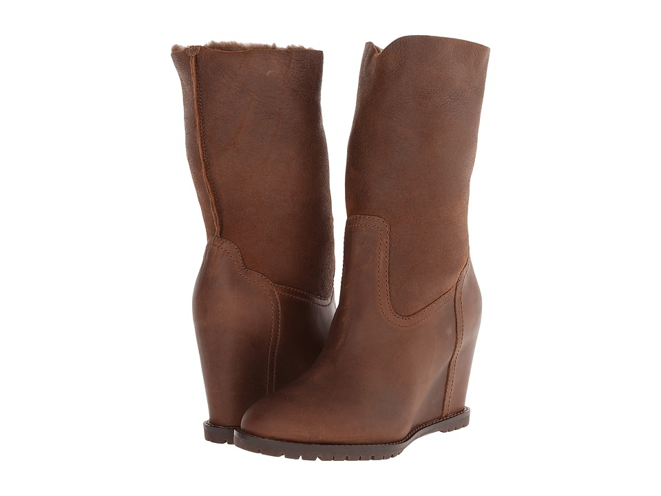 Trask Layla Shearling (Dark Brown Full Grain Leather/Brown Shearling) Women