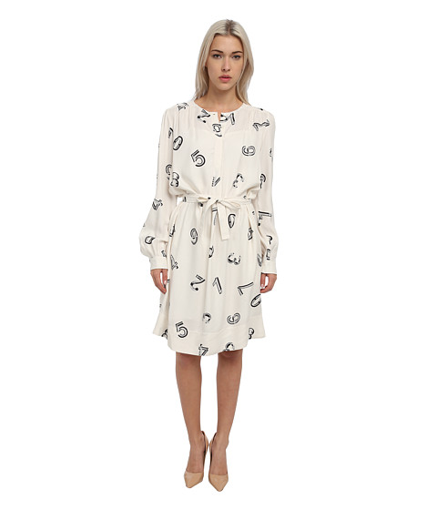 See by Chloe - L/S Shirt Dress w/ Waist Tie (Numbers Ecru) Women