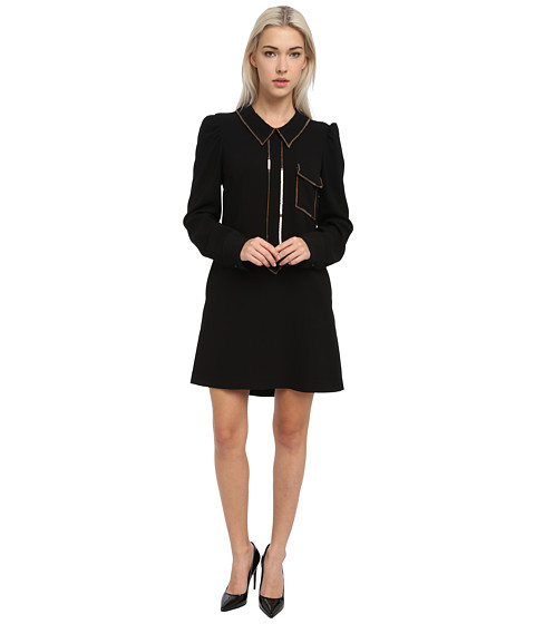 See by Chloe - L/S Shirt Dress w/ Front Pocket (Black) Women's Dress