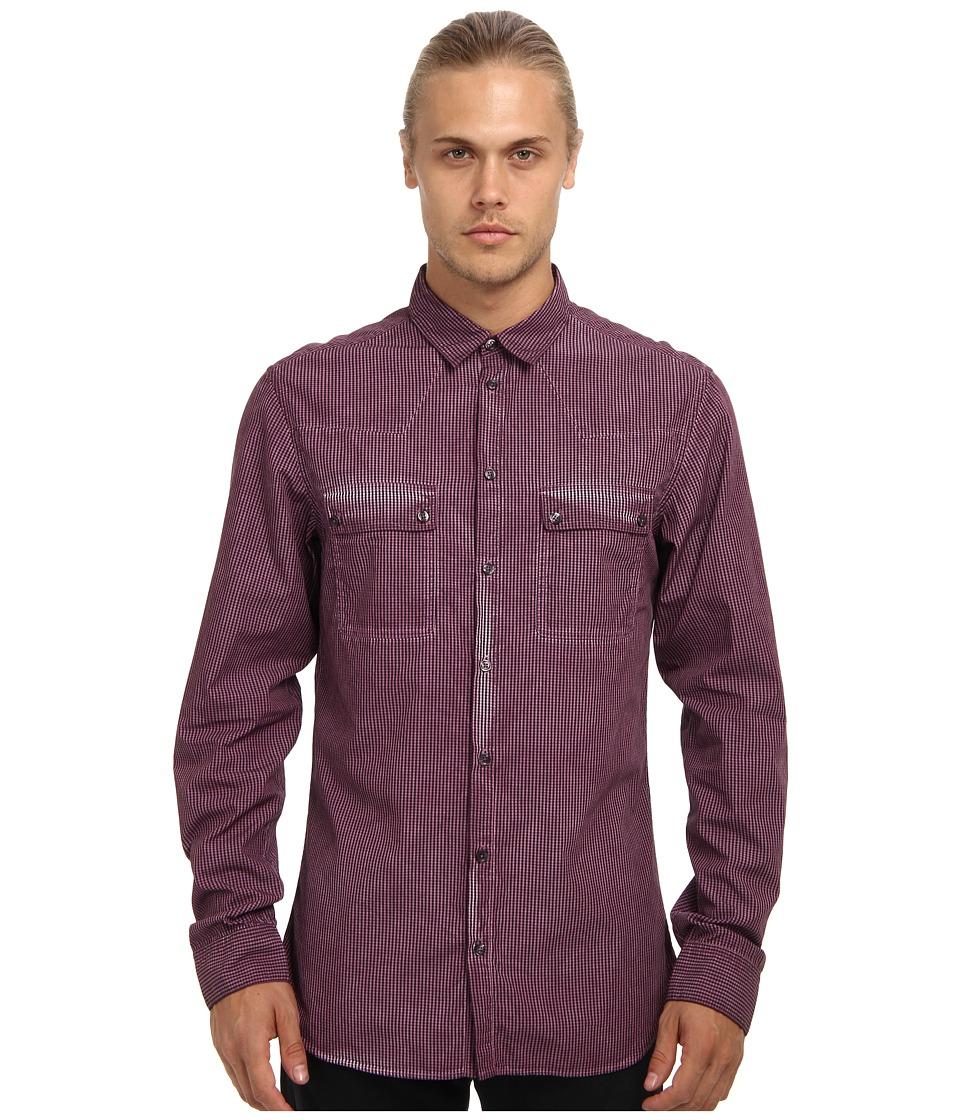Pierre Balmain Double Pocket Shirt Dark Magenta Mens Long Sleeve Button Up