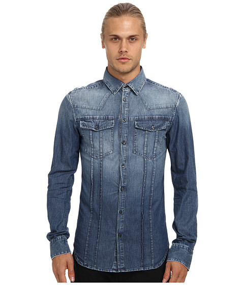 Pierre Balmain - Denim Shirt (Dark Blue) Men's Long Sleeve Button Up