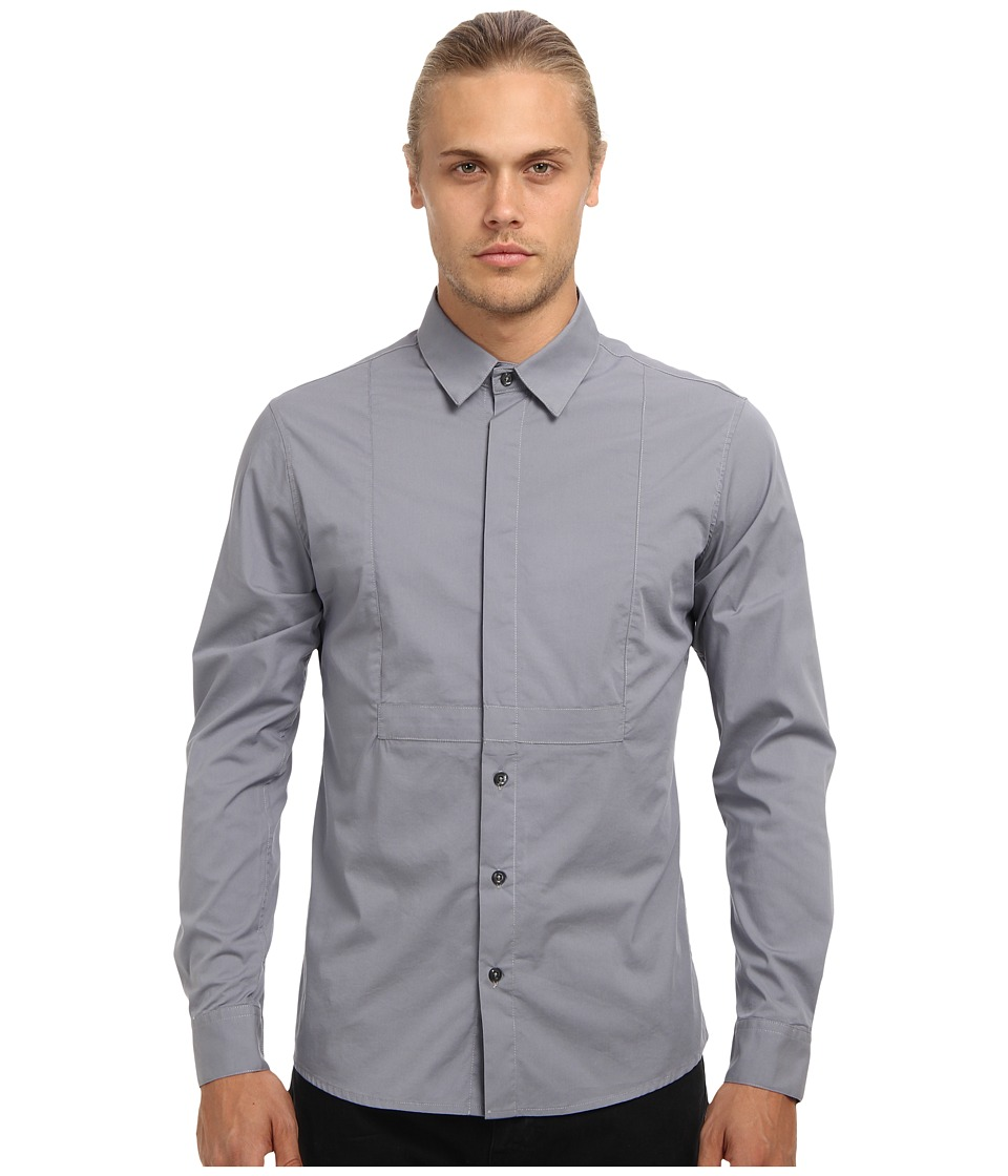 Pierre Balmain - Half Hidden Button Stretch Shirt (Light Grey) Men's Long Sleeve Button Up