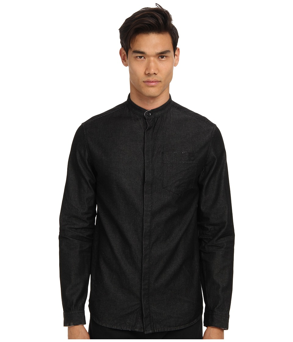 Pierre Balmain - Mandarin Collar Shirt (Black) Men's Long Sleeve Button Up