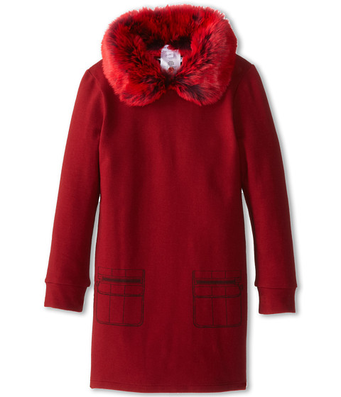 Little Marc Jacobs - Fleece Dress w/ Faux Fur Removable Collar (Toddler/Little Kids) (Marsala) Girl's Dress