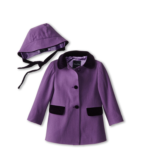 Oscar de la Renta Childrenswear - Wool Fitted Coat w/ Hat (Infant) (Orchid) Girl's Coat