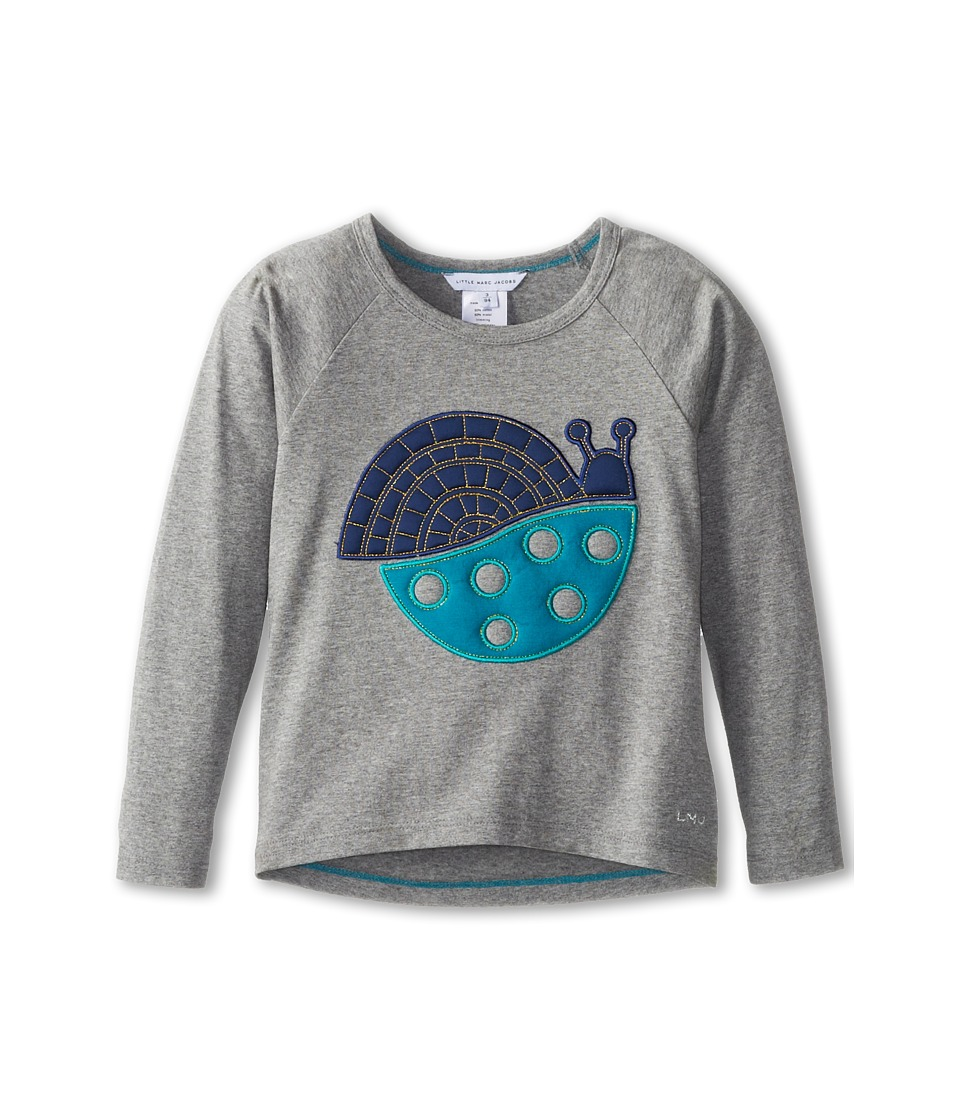 Little Marc Jacobs - Snail Applique Raglan Tee (Toddler/Little Kids) (Grey) Girl's Long Sleeve Pullover