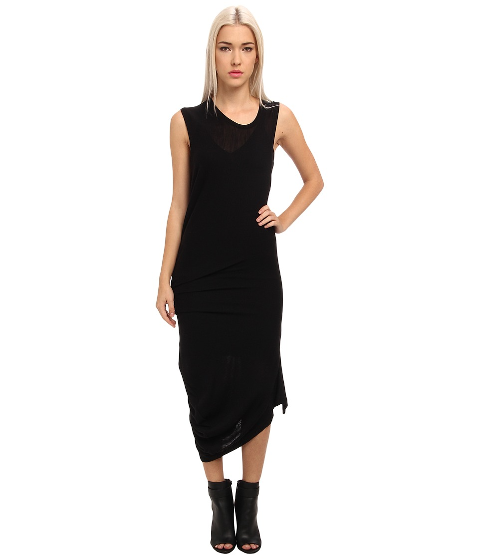 McQ - Solid Rib Jersey T-Bend Dress (Black) Women's Dress