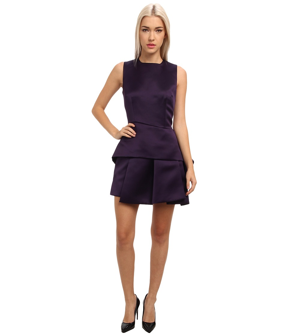 McQ - Double Face Duch Peplum Dress D (Deep Purple) Women's Dress