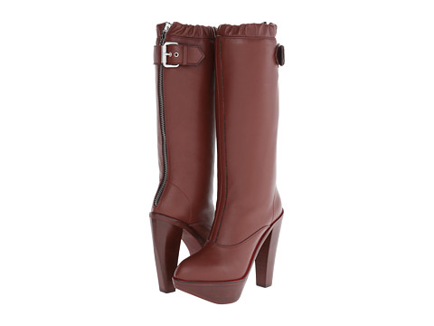 McQ - Max Calf Boot (Bordo Smooth Leather) Women's Zip Boots