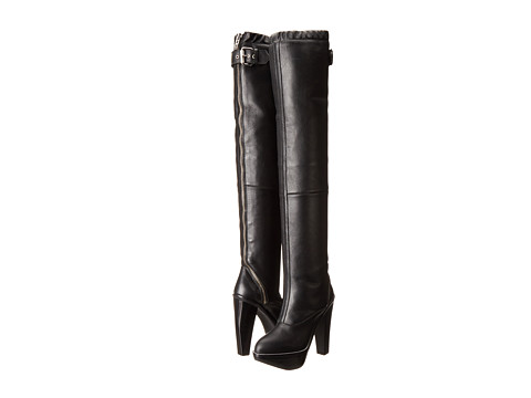 McQ - Max Curved Zip Boot (Black Smooth Leather) Women's Zip Boots