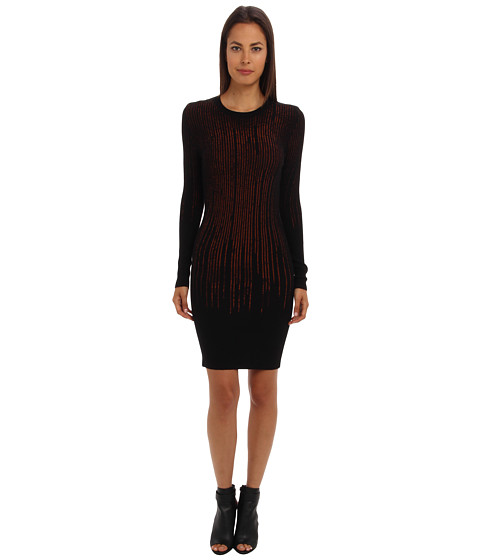 McQ - Dinamico Crepe L Crew Neck Body (Jet Black/Ambe) Women's Dress