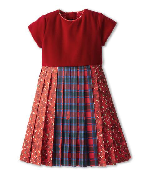 Oscar de la Renta Childrenswear - Velvet And Cotton Multi-Pleated Dress (Toddler/Little Kids/Big Kids) (Crimson Multi) Girl