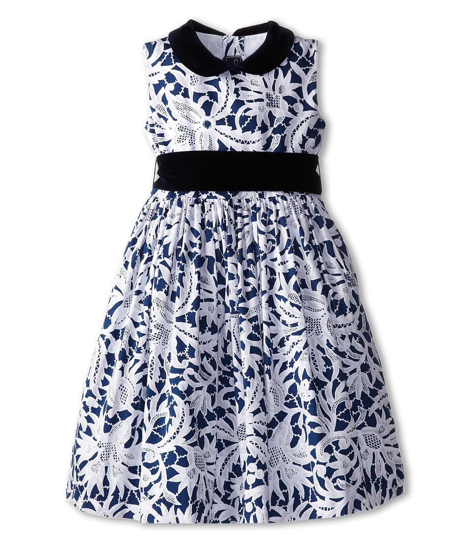 Oscar de la Renta Childrenswear - Lace Print Cotton Party Dress (Toddler/Little Kids/Big Kids) (Ivory Navy) Girl