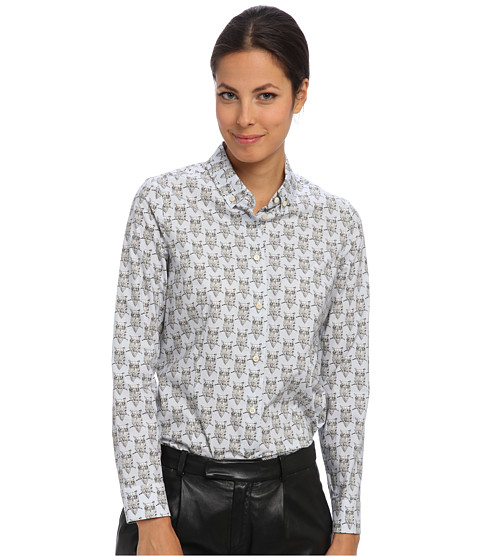 RED VALENTINO - Top HR0803A0 (Blue) Women's Long Sleeve Button Up