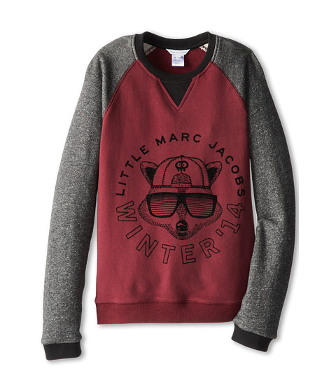 Little Marc Jacobs - Printed Bicolor Raglan Sweatshirt (Big Kids) (Dark Purple) Boy