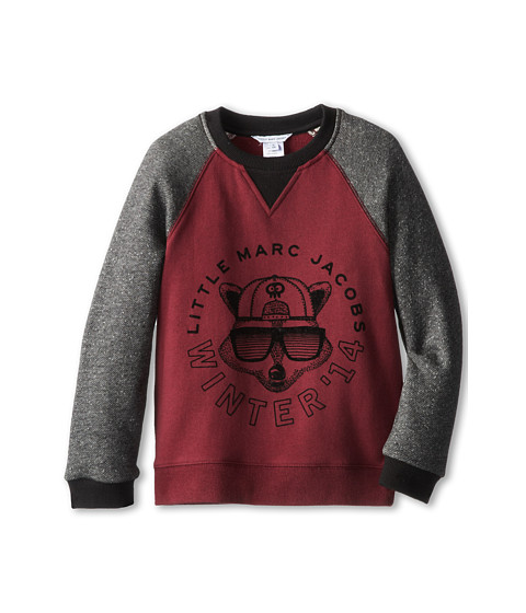 Little Marc Jacobs - Printed Bicolor Raglan Sweatshirt (Little Kids/Big Kids) (Dark Purple) Boy's Sweatshirt