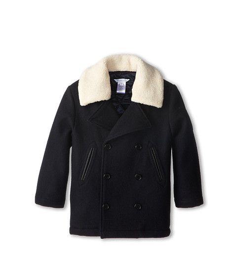 Little Marc Jacobs - Peacoat w/ Removable Collar (Toddler/Little Kids) (Navy) Boy's Coat
