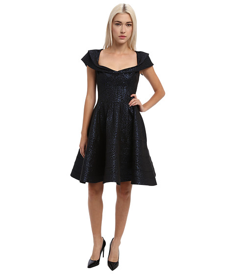 Zac Posen - 23-5014-44 (Metallic Blue/Black) Women's Dress