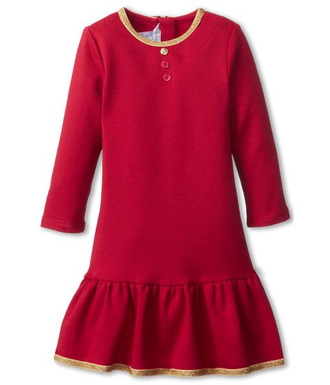 Little Marc Jacobs - Milano Dress w/ Gold Trim (Infant) (Strawberry) Girl's Dress