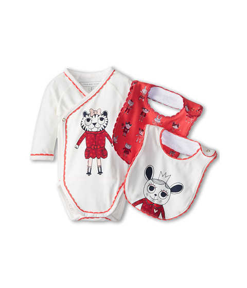 Little Marc Jacobs - 2 Bibs And Bodysuit Set In Tin Box (Infant) (Off White) Girl