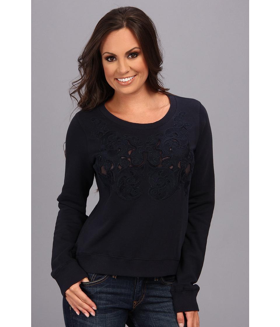 Lucky Brand Mesh Inset Top Womens Sweatshirt (Navy)