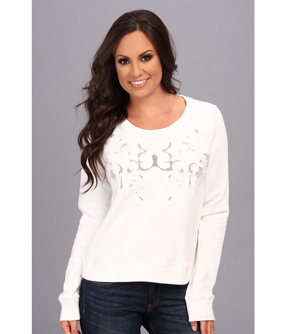 Lucky Brand Mesh Inset Top Womens Sweatshirt (White)