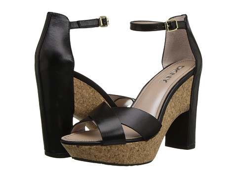 DKNY - Willa Ankle Strap (Black Shiny Calf) High Heels