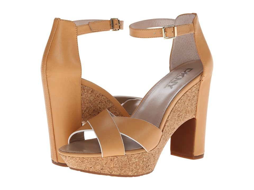 DKNY - Willa Ankle Strap (Natural Shiny Calf) High Heels