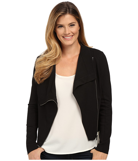 TWO by Vince Camuto - Ponte Asymmetrical Zip Moto Jacket (Rich Black) Women's Coat