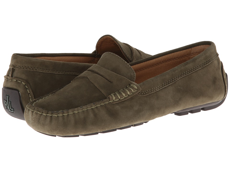 LAUREN by Ralph Lauren - Camila (Military Green Kid Suede) Women's Slip on Shoes