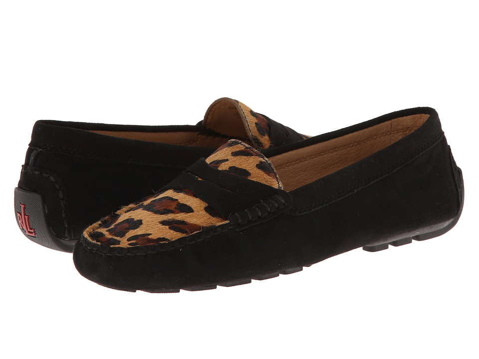 LAUREN by Ralph Lauren - Camila (Black/Leopard Kid Suede/Haircalf) Women's Slip on Shoes