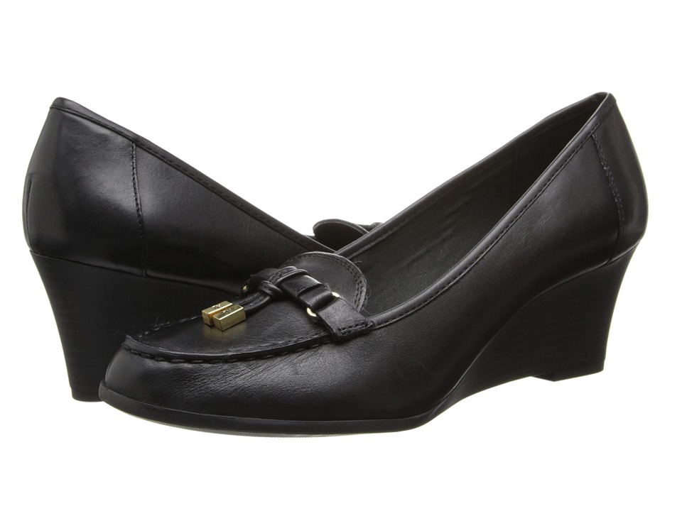 LAUREN by Ralph Lauren - Rory (Black Burnished Leather) Women's Wedge Shoes