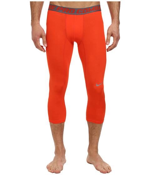 Nike - Pro Combat Core Compression 3/4 Tight (Team Orange/Cool Grey) Men's Workout