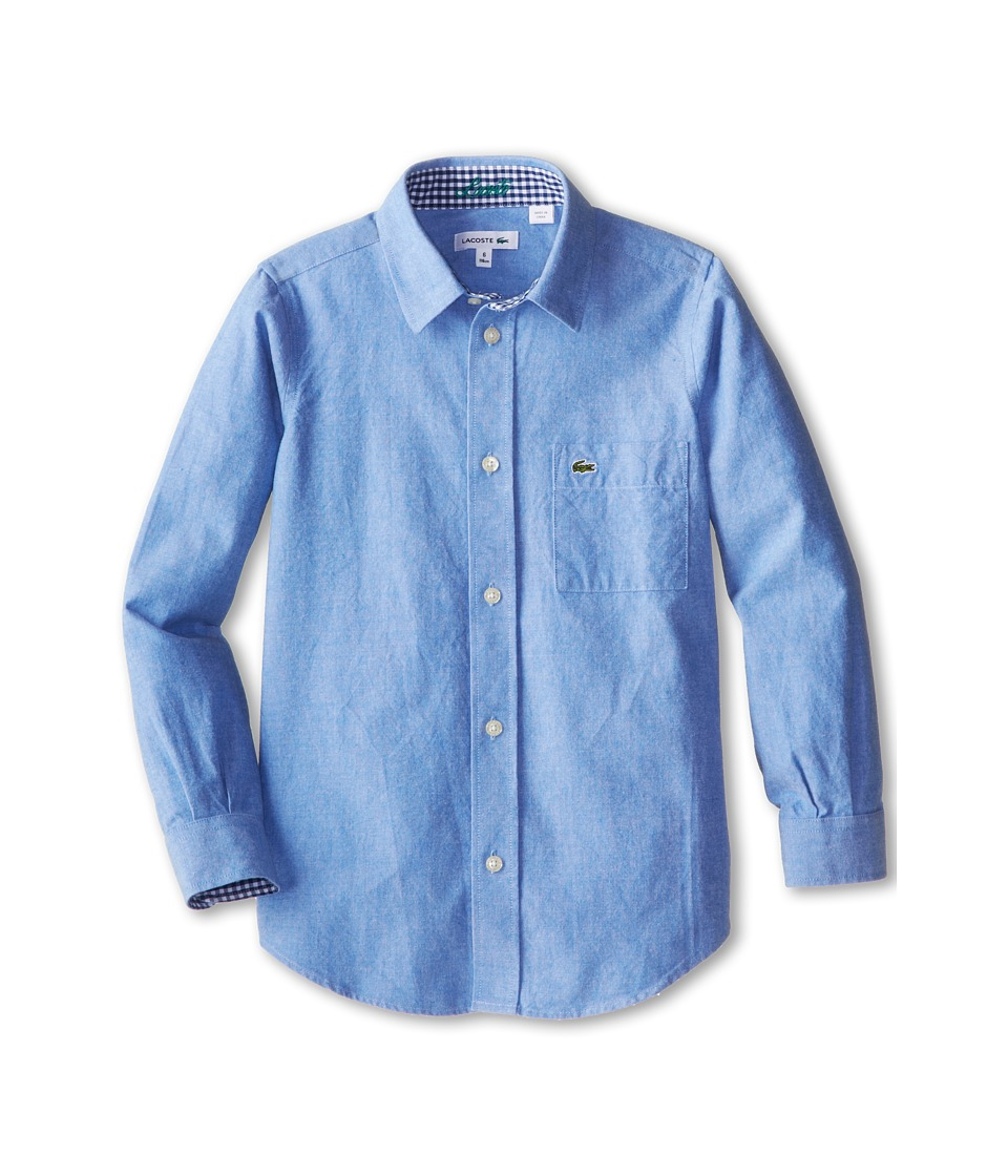 Lacoste Kids - L/S Oxford Shirt (Little Kids/Big Kids) (Cloudless Blue) Boy