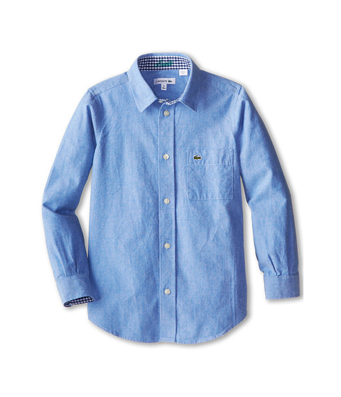 Lacoste Kids - L/S Oxford Shirt (Little Kids/Big Kids) (Cloudless Blue) Boy's Long Sleeve Button Up