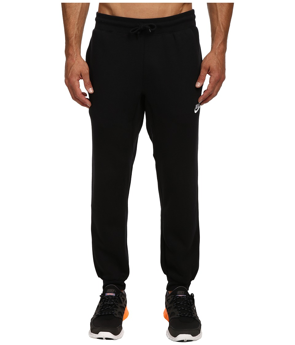 Nike - AW77 Cuff Fleece Pants (Black/White) Men's Casual Pants