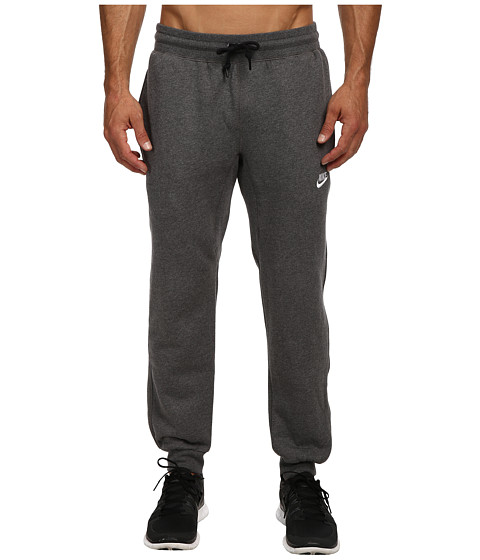 Nike - AW77 Cuff Fleece Pants (Charcoal Heather/White) Men