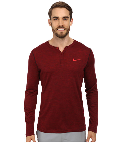 Nike - Long Sleeve Wool Henley (Deep Burgundy/Heather/Gym Red) Men's Long Sleeve Pullover