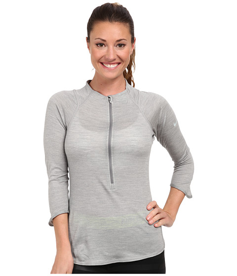Nike - Wool 1/2 Zip (Dark Grey Heather/Silver Wing) Women