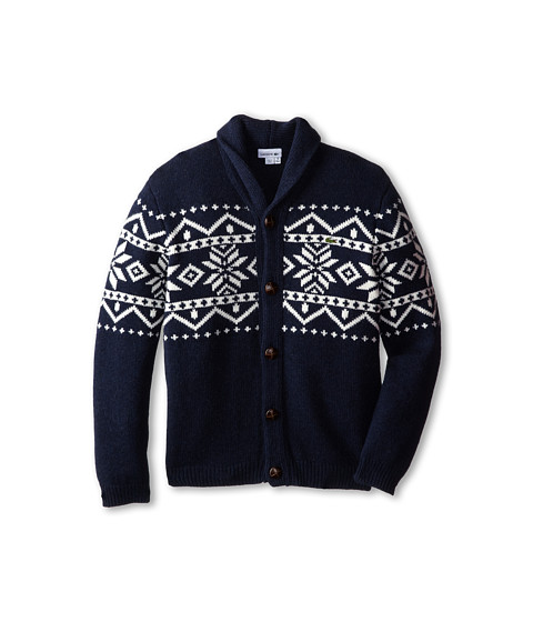 Lacoste Kids - Fair Isle Sweater (Toddler/Little Kids/Big Kids) (Navy Blue/Cake/Flour White) Boy