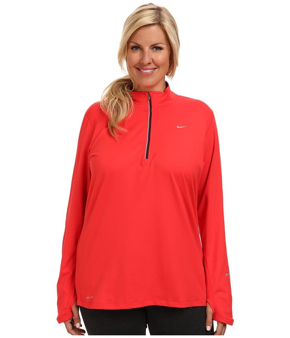 Nike - Extended Element Half-Zip (Action Red/Deep Burgundy/Reflective Silver) Women's Long Sleeve Pullover