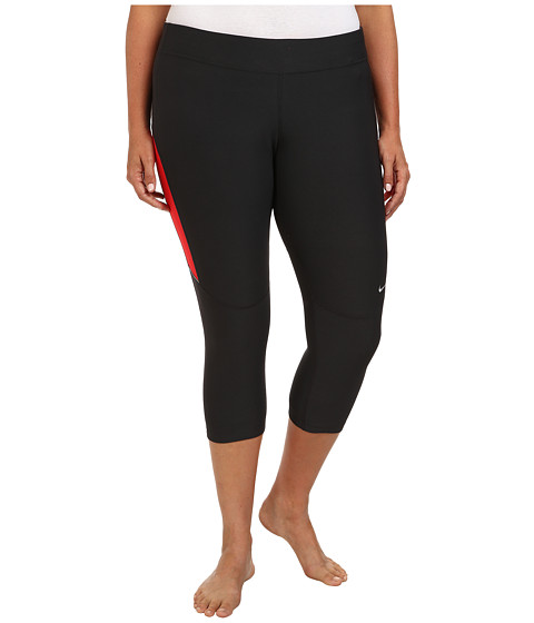 Nike - Extended Size Filament Capri (Dark Ash/Action Red/Matte Silver) Women's Workout
