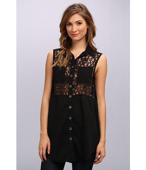 MINKPINK Memory Lane Tunic Shirt (Black) Women's Sleeveless