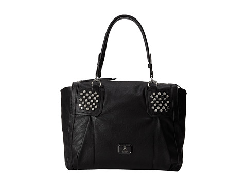 GUESS Rowena Large Satchel (Black) Satchel Handbags